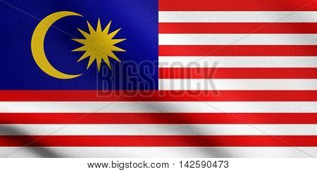 Flag of Malaysia waving in the wind with detailed fabric texture. Malaysian national flag. 3D illustration