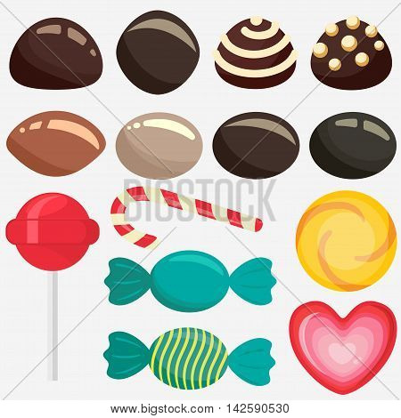 Sweet candy, caramel lollipop set, colored chocolate candies collection with wrapper, sugar sweet-stuff vector food, design element for christmas