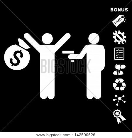 Thief Arrest icon with bonus pictograms. Vector illustration style is flat iconic symbols, white color, black background, rounded angles.