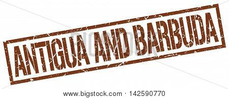 Antigua And Barbuda stamp. brown grunge square isolated sign