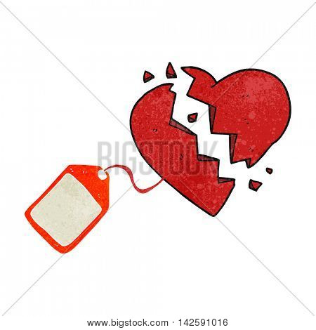 freehand retro cartoon luggage tag on broken heart
