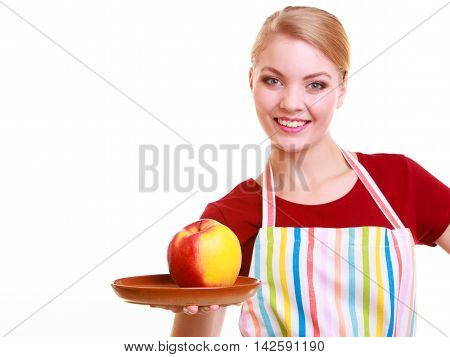 Happy Housewife Or Chef In Kitchen Apron Showing Apple Isolated