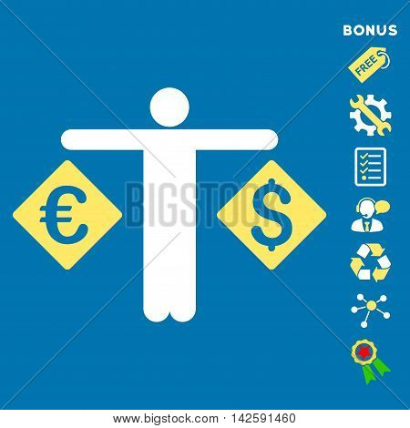 Currency Trader icon with bonus pictograms. Vector illustration style is flat iconic bicolor symbols, yellow and white colors, blue background, rounded angles.