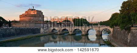 Castel Sant Angelo and bridge over River Tiber in Rome panorama, Italy.