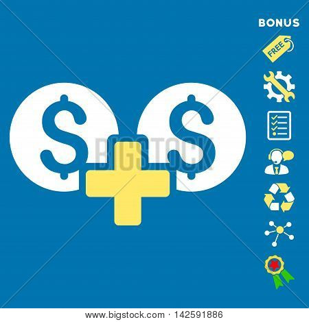 Financial Sum icon with bonus pictograms. Vector illustration style is flat iconic bicolor symbols, yellow and white colors, blue background, rounded angles.