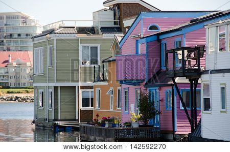 Summer Colors In Float Home Village, Victoria