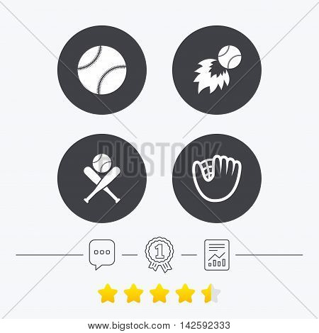 Baseball sport icons. Ball with glove and two crosswise bats signs. Fireball symbol. Chat, award medal and report linear icons. Star vote ranking. Vector