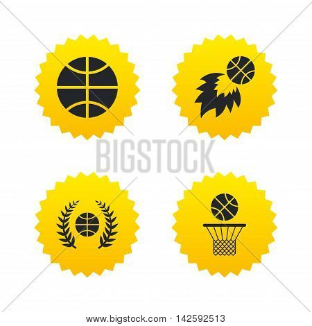 Basketball sport icons. Ball with basket and fireball signs. Laurel wreath symbol. Yellow stars labels with flat icons. Vector