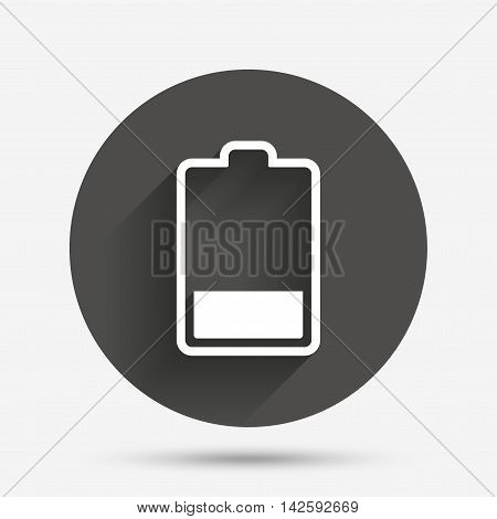 Battery low level sign icon. Electricity symbol. Circle flat button with shadow. Vector
