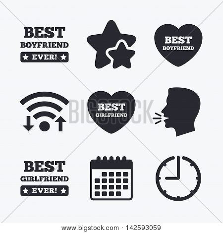Best boyfriend and girlfriend icons. Heart love signs. Award symbol. Wifi internet, favorite stars, calendar and clock. Talking head. Vector