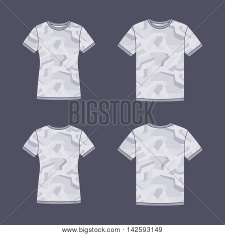 Mens and womens white short sleeve t-shirts templates with the camouflage pattern. Front and back views. Vector flat illustrations