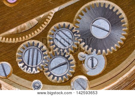 macro of gold and silver clockworks