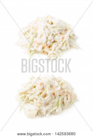 Pile of creamy coleslaw salad isolated over the white background, set of two different foreshortenings