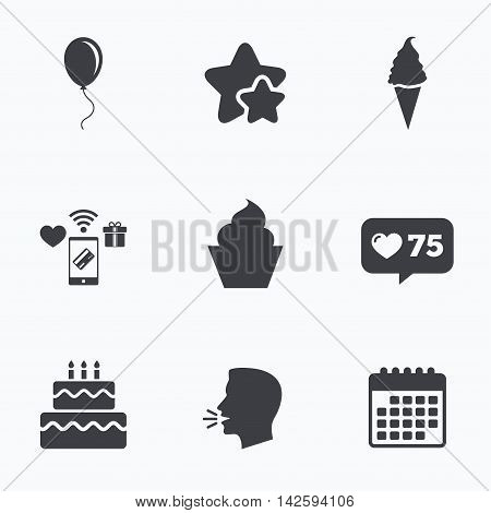 Birthday party icons. Cake with ice cream signs. Air balloon with rope symbol. Flat talking head, calendar icons. Stars, like counter icons. Vector
