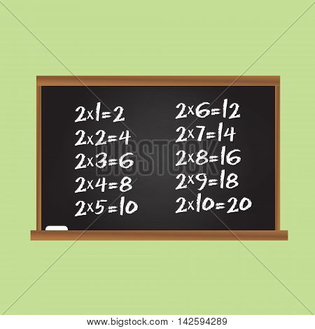 Multiplication table. Number two row on school chalk board. Children educational vector illustration