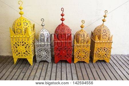 Colored brass lanterns at street market Granada Spain