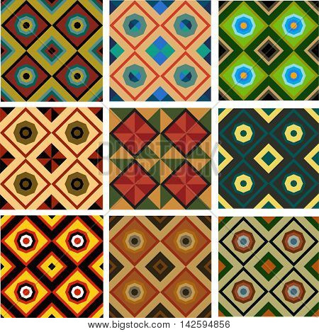 Set of nine different colored geometric pattern of seamless squares triangles and octagons