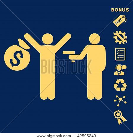 Thief Arrest icon with bonus pictograms. Vector illustration style is flat iconic symbols, yellow color, blue background, rounded angles.