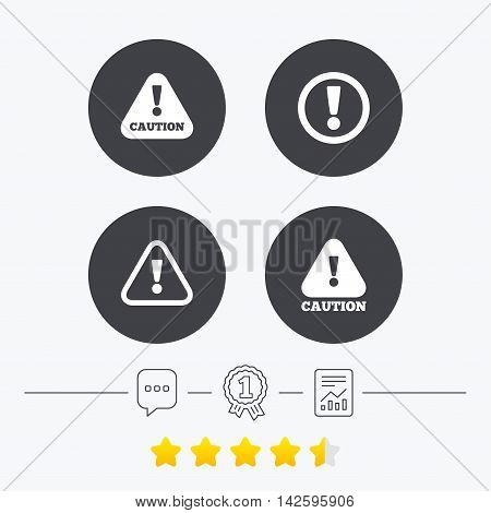 Attention caution icons. Hazard warning symbols. Exclamation sign. Chat, award medal and report linear icons. Star vote ranking. Vector