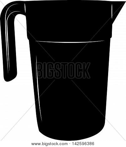 Jug - stylized vector illustration in black and white.
