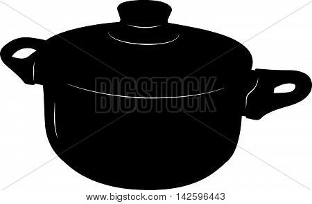 Saucepan with lid  - stylized vector illustration in black and white