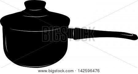 Saucepan with long handle and glass lid - stylized vector illustration in black and white.