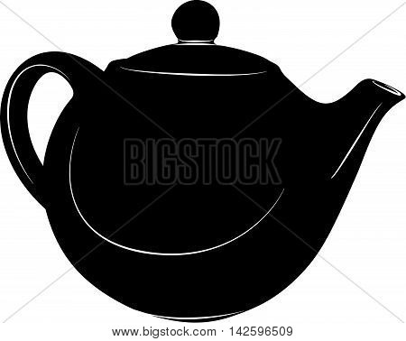 Teapot silhouette illustration icon. Stylized image in black and white