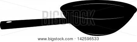 Wok - chinese frying pan - stylized vector illustration in black and white