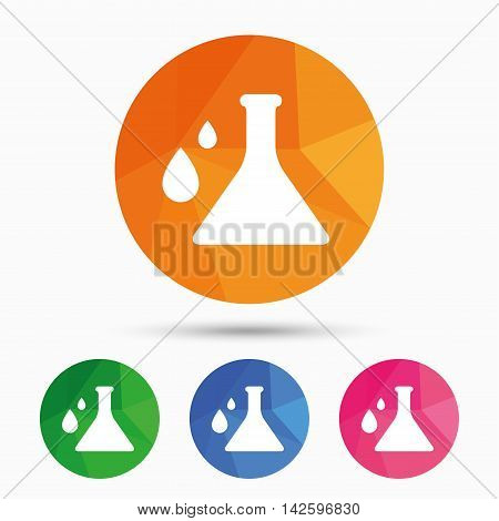 Chemistry sign icon. Bulb symbol with drops. Lab icon. Triangular low poly button with flat icon. Vector