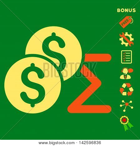 Coin Summary icon with bonus pictograms. Vector illustration style is flat iconic bicolor symbols, orange and yellow colors, green background, rounded angles.