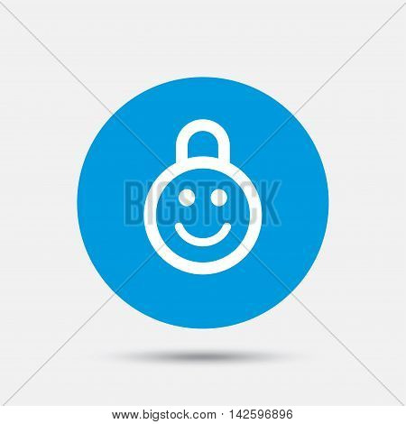 Child lock icon. Locker with smile symbol. Child protection. Blue circle button with icon. Vector