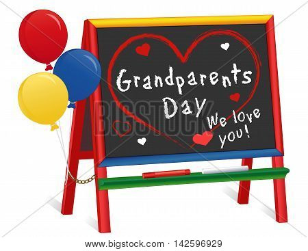 Grandparents Day, We love You!  USA holiday, 1st Sunday of September following Labor Day, balloons, wood chalkboard easel for children, for daycare, nursery school, kindergarten.