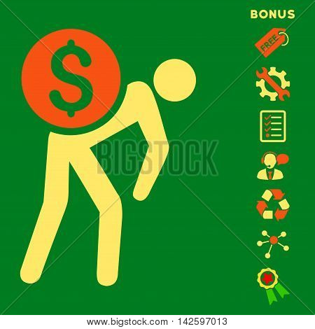 Financial Courier icon with bonus pictograms. Vector illustration style is flat iconic bicolor symbols, orange and yellow colors, green background, rounded angles.