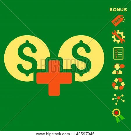 Financial Sum icon with bonus pictograms. Vector illustration style is flat iconic bicolor symbols, orange and yellow colors, green background, rounded angles.