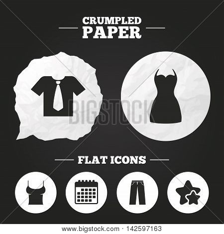 Crumpled paper speech bubble. Clothes icons. T-shirt with business tie and pants signs. Women dress symbol. Paper button. Vector