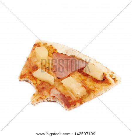 Single slice of hawaiian pizza with a bite taken of it, composition isolated the white background