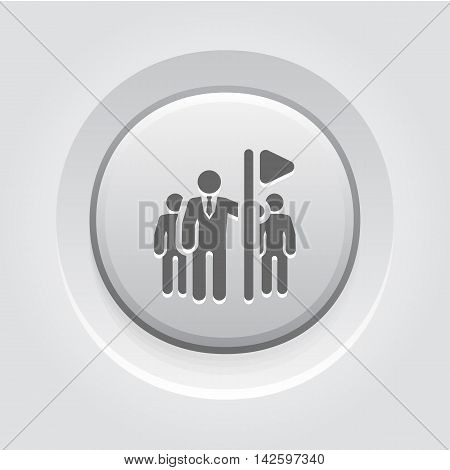 Team Leader Icon. Grey Button Design. Isolated Illustration. App Symbol or UI element.