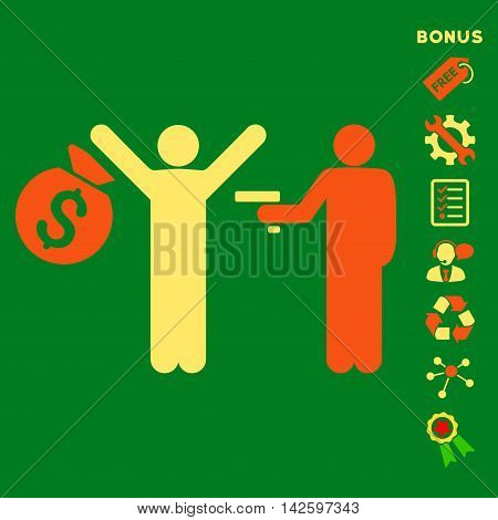 Thief Arrest icon with bonus pictograms. Vector illustration style is flat iconic bicolor symbols, orange and yellow colors, green background, rounded angles.