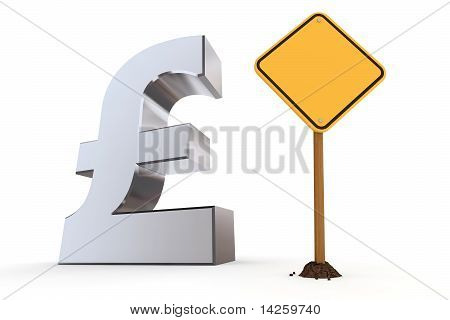 British Pound With Yellow Warning Sign