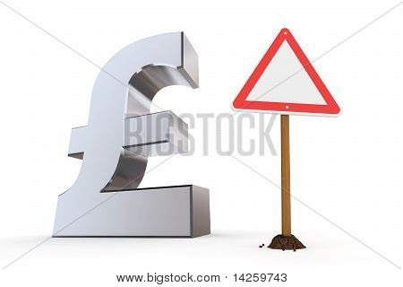 British Pound With Triangular Warning Sign