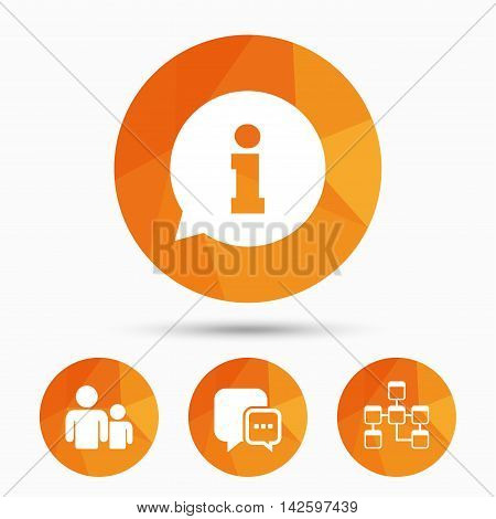 Information sign. Group of people and database symbols. Chat speech bubbles sign. Communication icons. Triangular low poly buttons with shadow. Vector