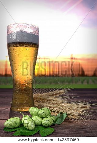 two glasses of beer on wooden desk with hop-garden on background - 3D render