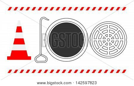 Traffic Safety Open Manhole. Vector Illustration Of A Traffic Reflector Cone, Hook, Open Manhole With It's Cover And Two Safety Strips.