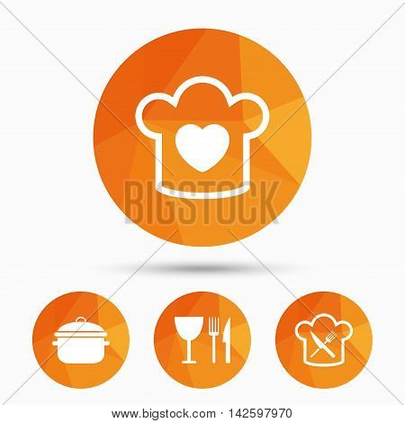 Chief hat with heart and cooking pan icons. Crosswise fork and knife signs. Boil or stew food symbol. Triangular low poly buttons with shadow. Vector