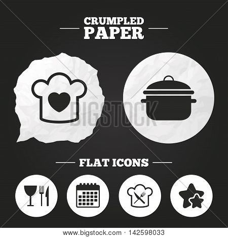 Crumpled paper speech bubble. Chief hat with heart and cooking pan icons. Crosswise fork and knife signs. Boil or stew food symbol. Paper button. Vector