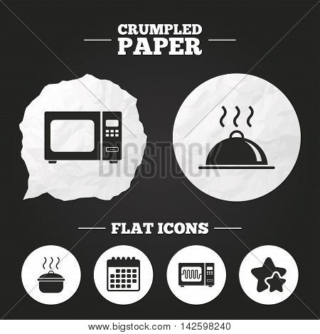 Crumpled paper speech bubble. Microwave grill oven icons. Cooking pan signs. Food platter serving symbol. Paper button. Vector