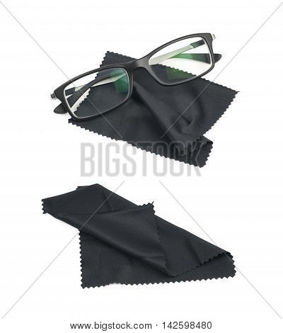 Glass cleaning black cloth napkin with a pair of glasses over it, composition isolated over the white background, set of two different foreshortenings