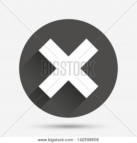 Delete sign icon. Remove button. Circle flat button with shadow. Vector