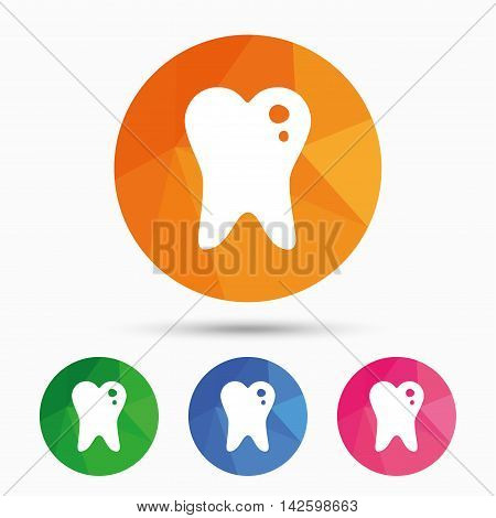 Caries tooth icon. Tooth filling sign. Dental care symbol. Triangular low poly button with flat icon. Vector