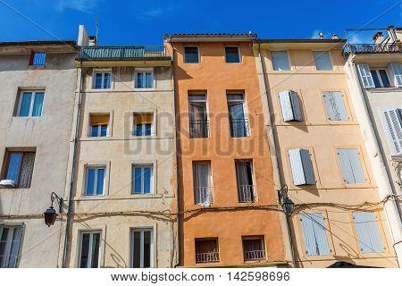 facades of old buildings in Aix en Provence France